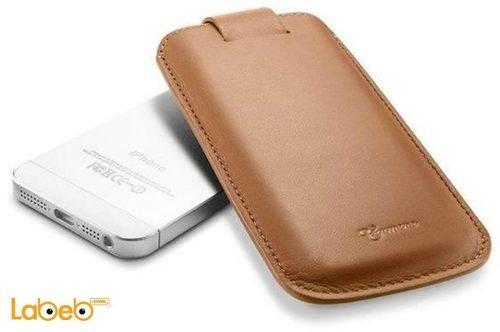 غطاء جلد SPIGEN مناسب لموبايل ايفون 5 بني مغناطيسي