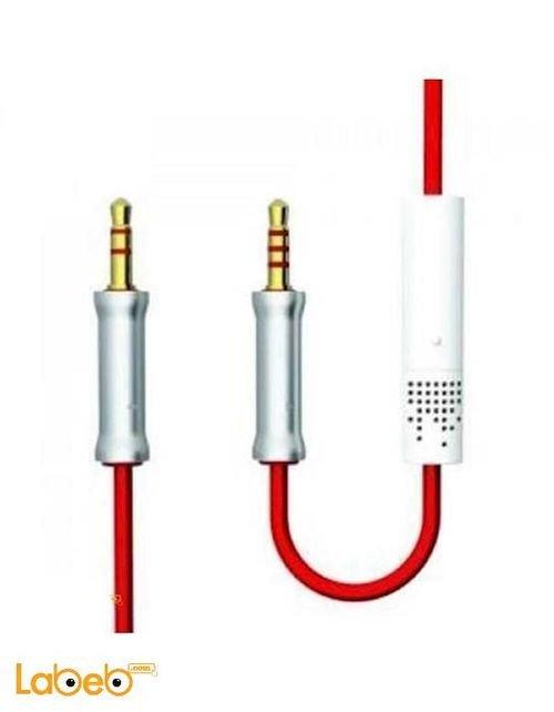 كابل AUX هوتلاين Vojo مع مايكروفون 3.5 ملم لون أحمر