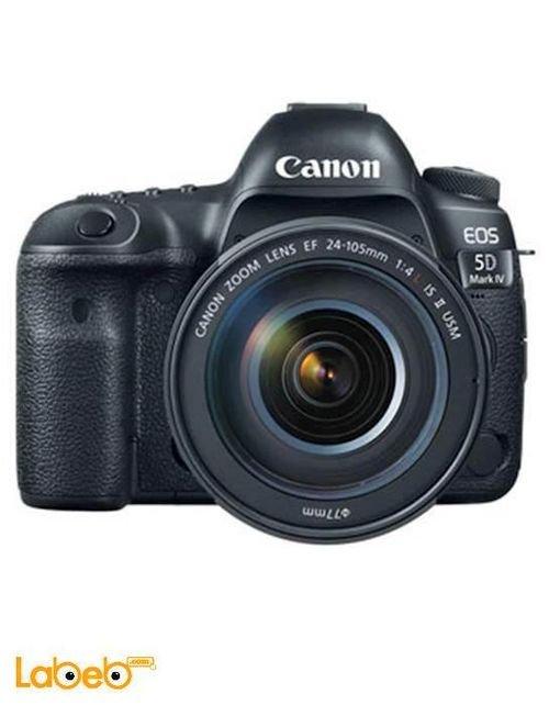 كاميرا كانون الرقمية أسود موديل EOS 5D Mark IV Kit 24-105 f/4L II