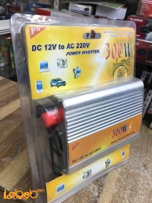 محول كهرباء للسيارة PM منفذ يو أس بي 300 واط 220 فولت أحمر