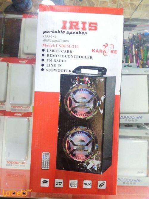 سماعة IRIS قدرة 6 واط*2 منفذ USB لون أسود موديل USBFM-210