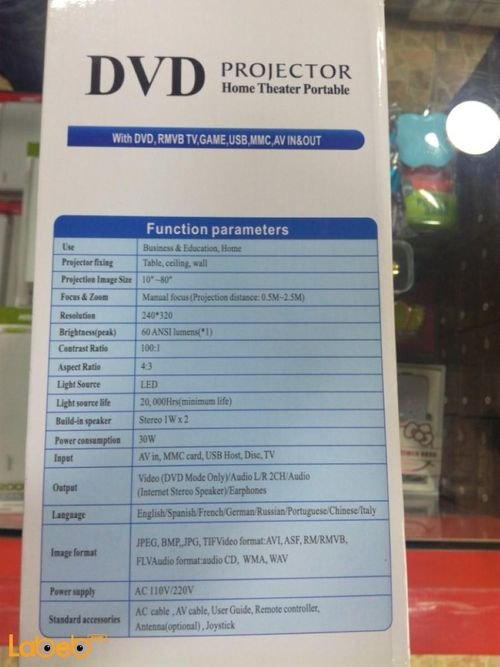 DVD Projector Home Theater Portable specifications 320x240P DVD-3680
