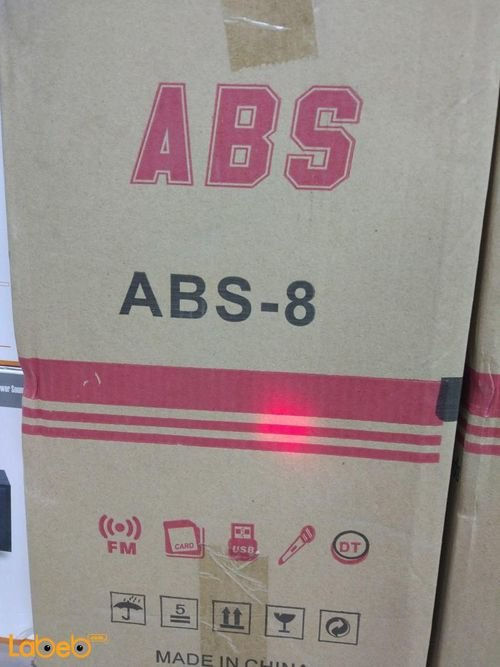 سماعات دي جي ABS حجم 8 انش 25000 واط أسود وأحمر ABS-8