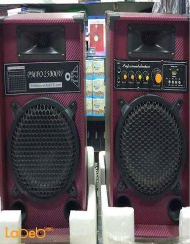 سماعات دي جي ABS حجم 8 انش 25000 واط أسود وأحمر موديل ABS-8
