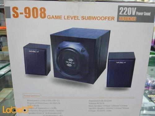 مكبر صوت منزلي Music-F قدرة 25 واط لون أسود S-908
