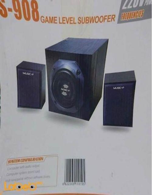 مكبر صوت منزلي ماركة Music-F قدرة 25 واط لون أسود موديل S-908