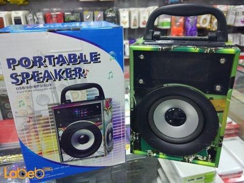 مكبر صوت محمول خشبي USB كرت SD منفذ MP3/AUX أخضر BGH-50