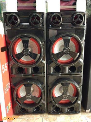 سماعات دي جي Ailiang - حجم 10 انش دبل - يو اس بي - لون أسود وأحمر