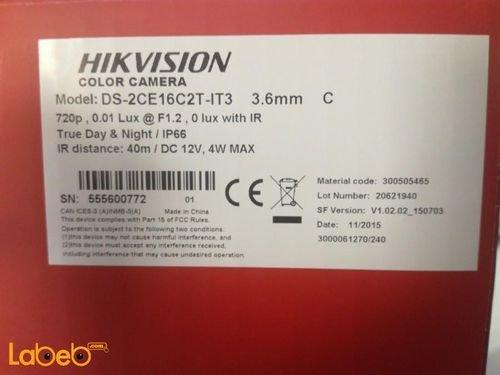 كاميرا مراقبة خارجية ماركة Hikvision ليلي نهاري DS-2CE16CE16C2T-IT3