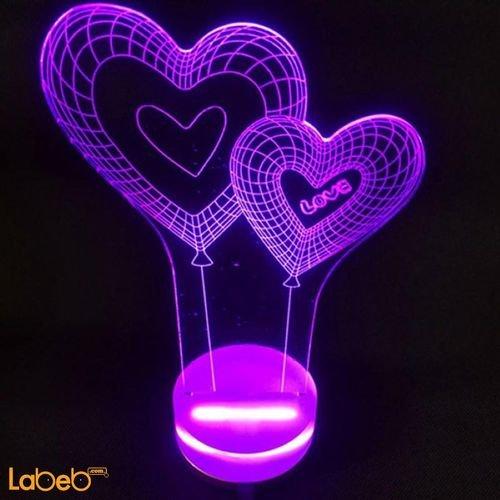 مصباح أضواء ليد ثلاثي الأبعاد 0.5 واط لون أرجواني للديكور