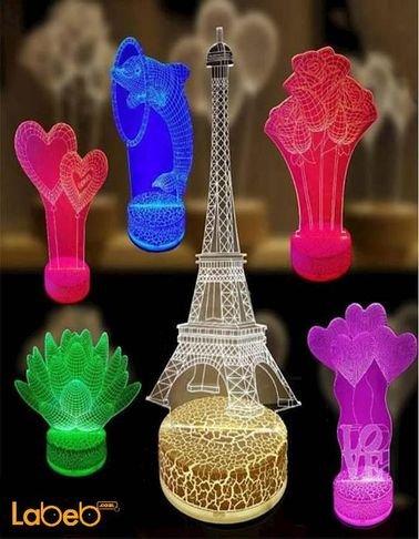 مصباح أضواء ليد ثلاثي الأبعاد - 0.5 واط - ألوان عديدة - للديكور
