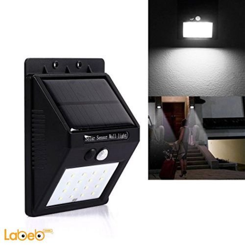 External light works on solar energy Motion sensor waterproof Black color