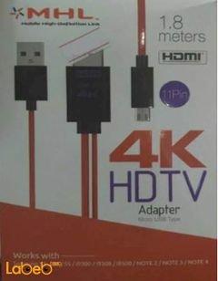 كابل HDMI ام اتش ال - 1.8 متر - يدعم 4K - أحمر - موديل 2212