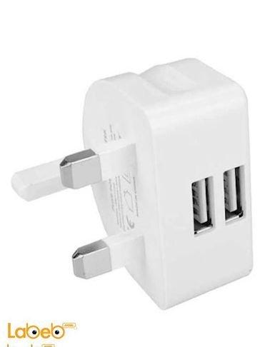 شاحن حائط متعدد المداخل ريماكس - منفذين USB - أبيض - RMT7188