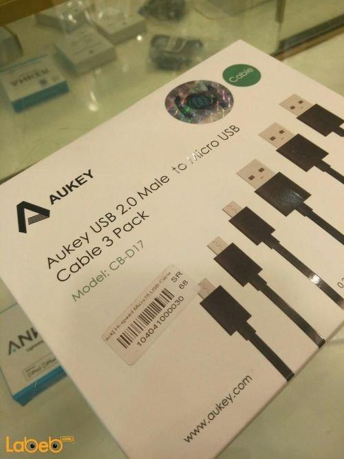 مجموعة كوابل Aukey يو اس بي 2.0 لون أسود موديل CB-D17