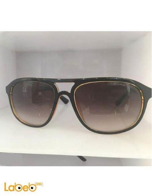 نظارة شمسية بورش تقليد 1 اطار اسود وذهبي عدسة لون بني