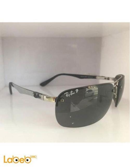 نظارة شمسية ماركة راي بان تقليد 1 اطار اسود وفضي عدسة سوداء