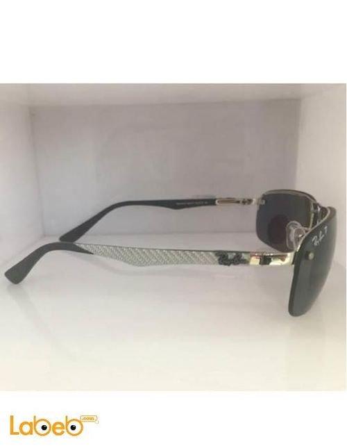 نظارة شمسية راي بان تقليد صنف أول اطار اسود وفضي عدسة سوداء