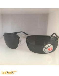 نظارة شمسية راي بان - تقليد 1 - اطار اسود وفضي - عدسة سوداء