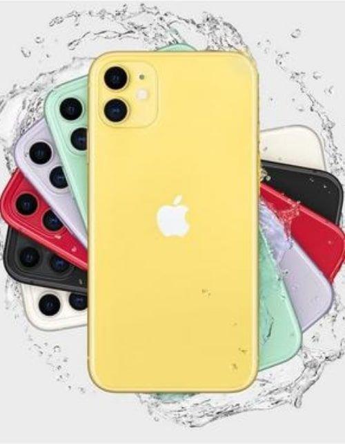 هاتف أبل آيفون 11، 4 جي، سعة 128 جيجابايت، لون أصفر