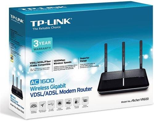 راوتر مودم تي بي لينك أرشر VR600، يدعم شبكة 4G\ADSL\VDSL، طراز AC1600، أسود