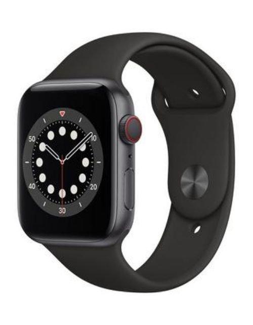 ساعة آبل 6 الذكية 44 ملم، شاشة 1.7 بوصة، GPS مع خاصية الاتصال، هيكل ألمنيوم رمادي، سوار أسود