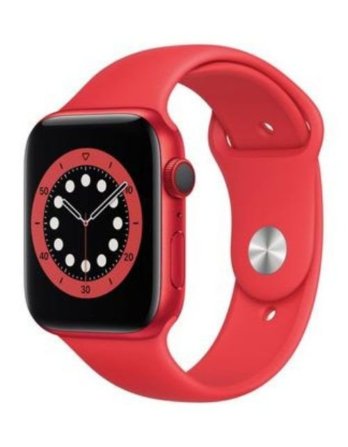 ساعة آبل 6 الذكية 44 ملم، شاشة 1.7 بوصة، GPS مع خاصية الاتصال، هيكل ألمنيوم أحمر، مع سوار رياضي أحمر