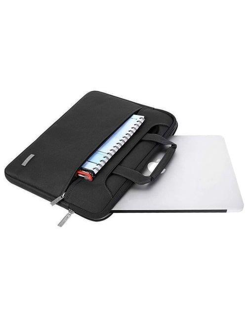 حقيبة كتف للابتوب موسيسو،مصنوعة من القماش والبوليستر، متوافق مع ماك بوك ونوت بوك 13/13.3 بوصة، أسود