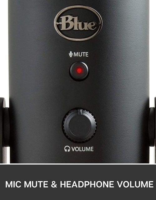 ميكروفون بلو يتي استديو USB، ثلاث كبسولات، أربع أنماط تسجيل، أسود