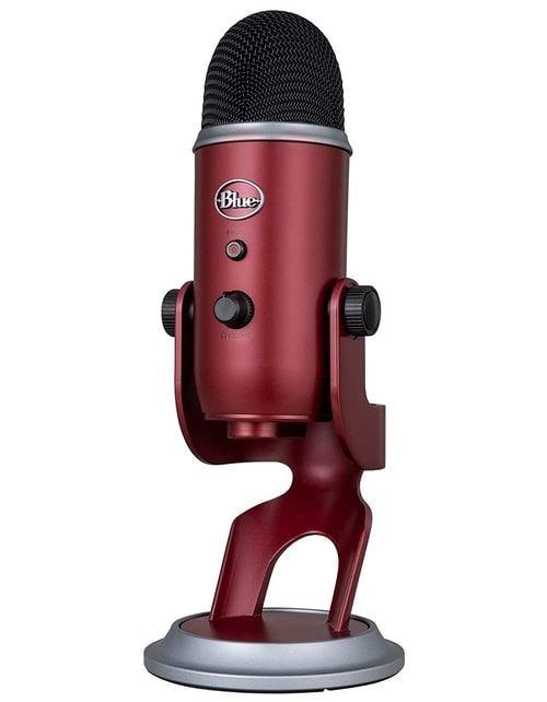 ميكروفون بلو يتي استديو USB، ثلاث كبسولات، أربع أنماط تسجيل، أحمر غامق