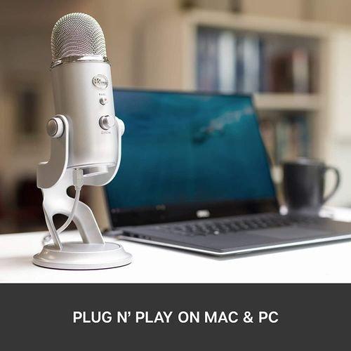 ميكروفون بلو يتي استديو USB، ثلاث كبسولات، أربع أنماط تسجيل، فضي
