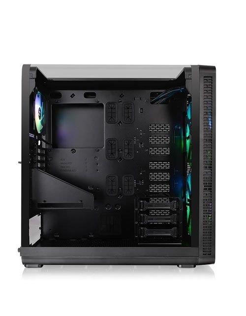صندوق كمبيوتر ألعاب ثيرمال تيك View 37، مروحتان من الأمام، زجاج، أسود
