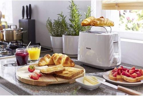 محمصة خبز فيلبس ديلي شريحتين، 830 واط، مع رف للتسخين، أبيض، HD2581