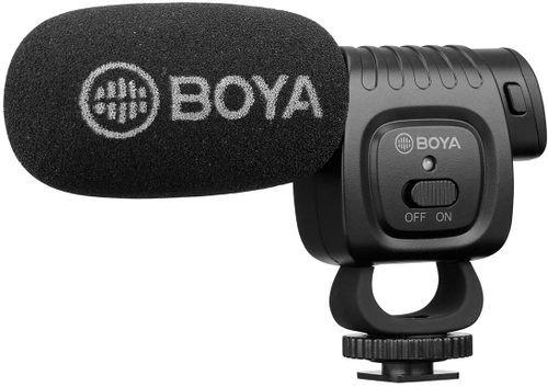 ميكرفون للكاميرات بويا BM3011، مقبس 3.5 ملم، نمط قلبي، مع حاجب للرياح اسفنجي