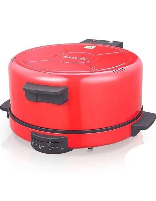آلة صنع البيتزا والخبز ساتشي، قطر 50 سم، 2200 واط، أحمر