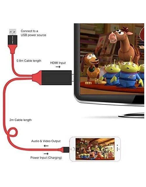 وصلة بلاج أند بلاي من الآيفون والآباد إلى التلفزيونHDMI/HDTV، طول 2 متر، لون أحمر وأسود