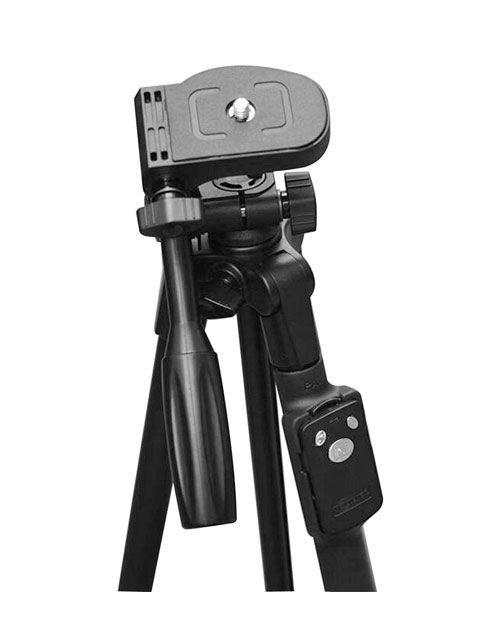 حامل كاميرا Yunteng، ارتفاع 43 سم، يدعم الهاتف والكاميرا، بلوتوث، أسود