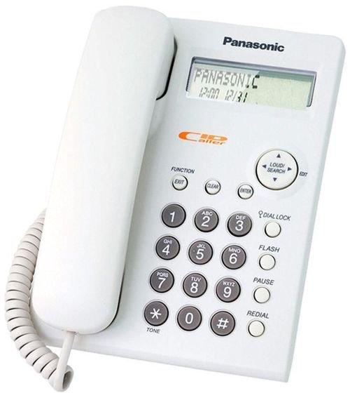 هاتف سلكي باناسونيك، شاشة LCD لعرض معلومات المتصل، أبيض