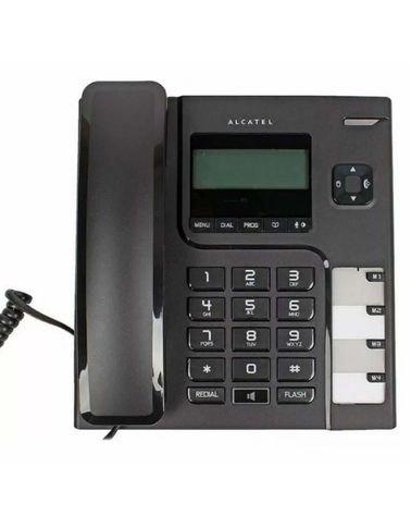 هاتف سلكي مكتبي ألكتل، مع شاشة لاظهار رقم المتصل، أسود