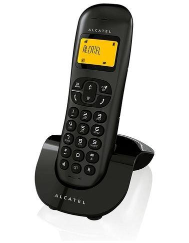 هاتف ألكتل أرضي لاسلكي، بشاشة إل سي دي، إظهار رقم المتصل، أسود