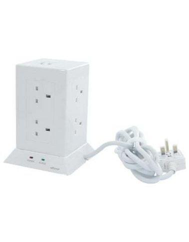 وصلة كهربائية عمودية الفنار، 3 أمتار، 8 مداخل، مدخلين USB، لون أبيض