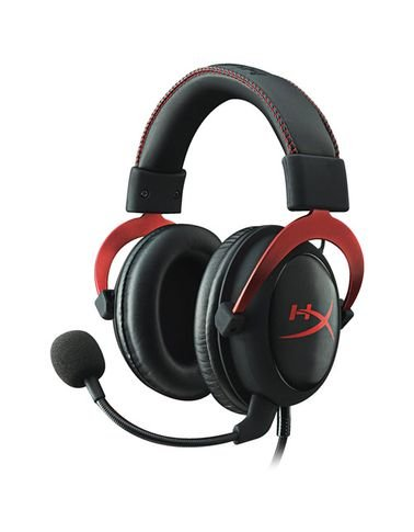 سماعة رأس هايبر إكس كلاود 2، صوت محيطي 7.1، أحمر