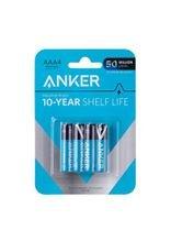 Anker Alkaline Batteries, Box of 4 AAA Batteries, White / Black / Blue
