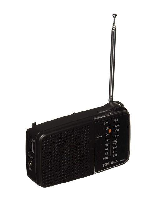 راديو محمول توشيبا، يدعم موجات AM/FM، لون أسود