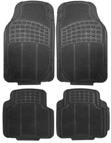 طقم دعاسات أرضية للسيارة من ميجا، 4 قطع، مطاط وبلاستيك، أسود