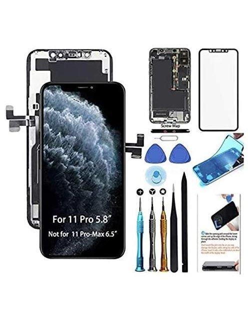 شاشة ايفون 11 برو من Allfixparts، مع أدوات التركيب، لون أسود
