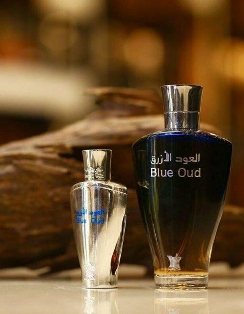 طقم العود الأزرق من العربية للعود للجنسين، قطعتين، أي دو بارفان 100 مل، دهن العود الأزرق 24 مل