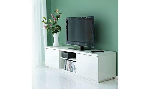طاولة تلفزيون بياس من أيكيا، رف قابل للتعديل، لون أبيض