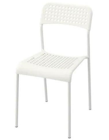 IKEA ADDE dining chair, plastic seat, steel legs, white