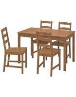 طقم طعام جكموك طاولة و 4 كراسي من إيكيا، خشب الصنوبر، لون بنيطقم طعام جكموك طاولة و 4 كراسي من إيكيا، خشب الصنوبر، لون بني